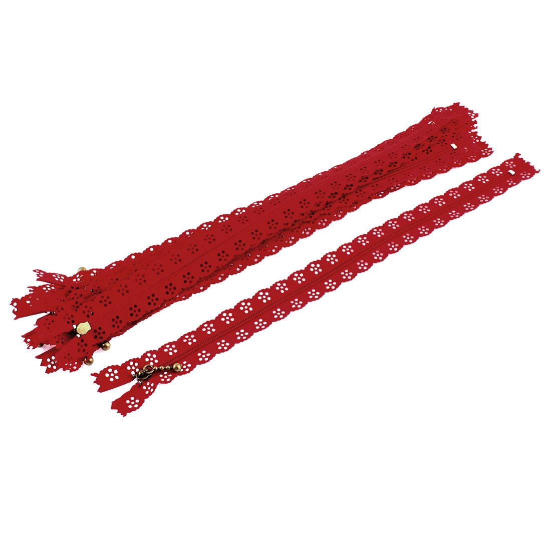 10 Pcs Red Lace Edged Zip Closed End Zipper 30cm Long