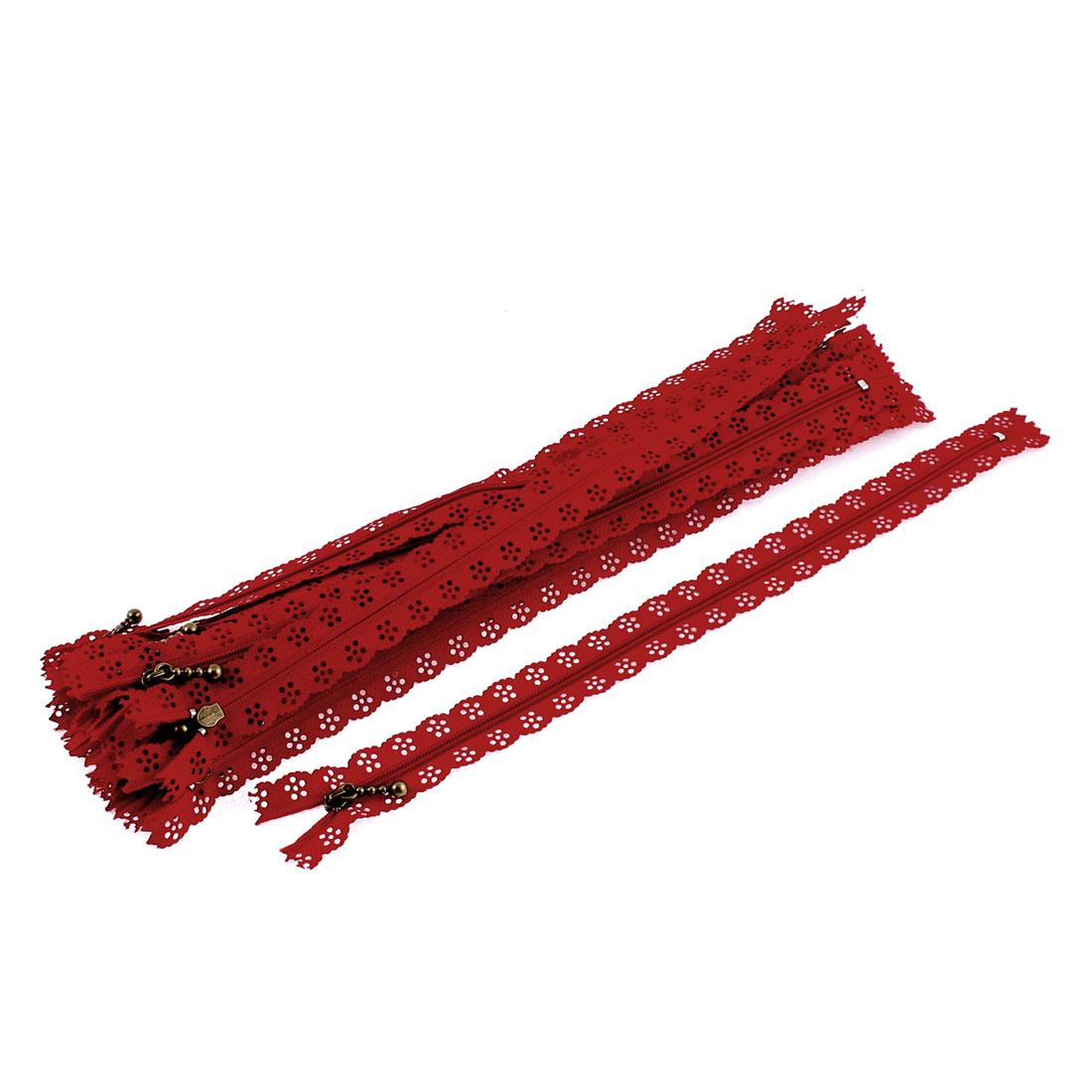 20 Pcs Red Lace Edged Zip Closed End Zipper 30cm Length