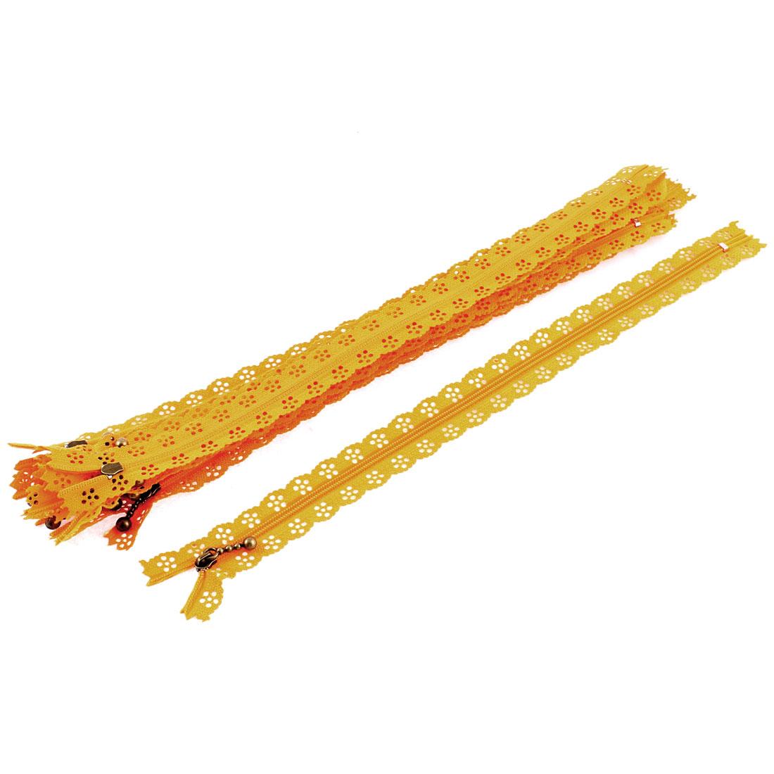 10 Pcs Orange Lace Edged Zip Closed End Zipper 30cm Long