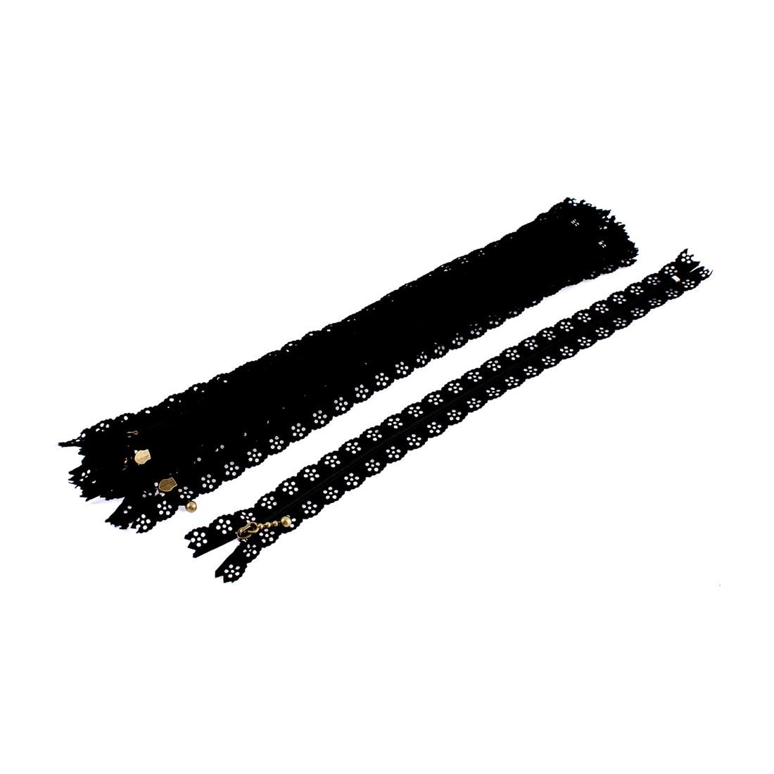 10 Pcs Black Lace Edged Zip Closed End Zipper 30cm Long