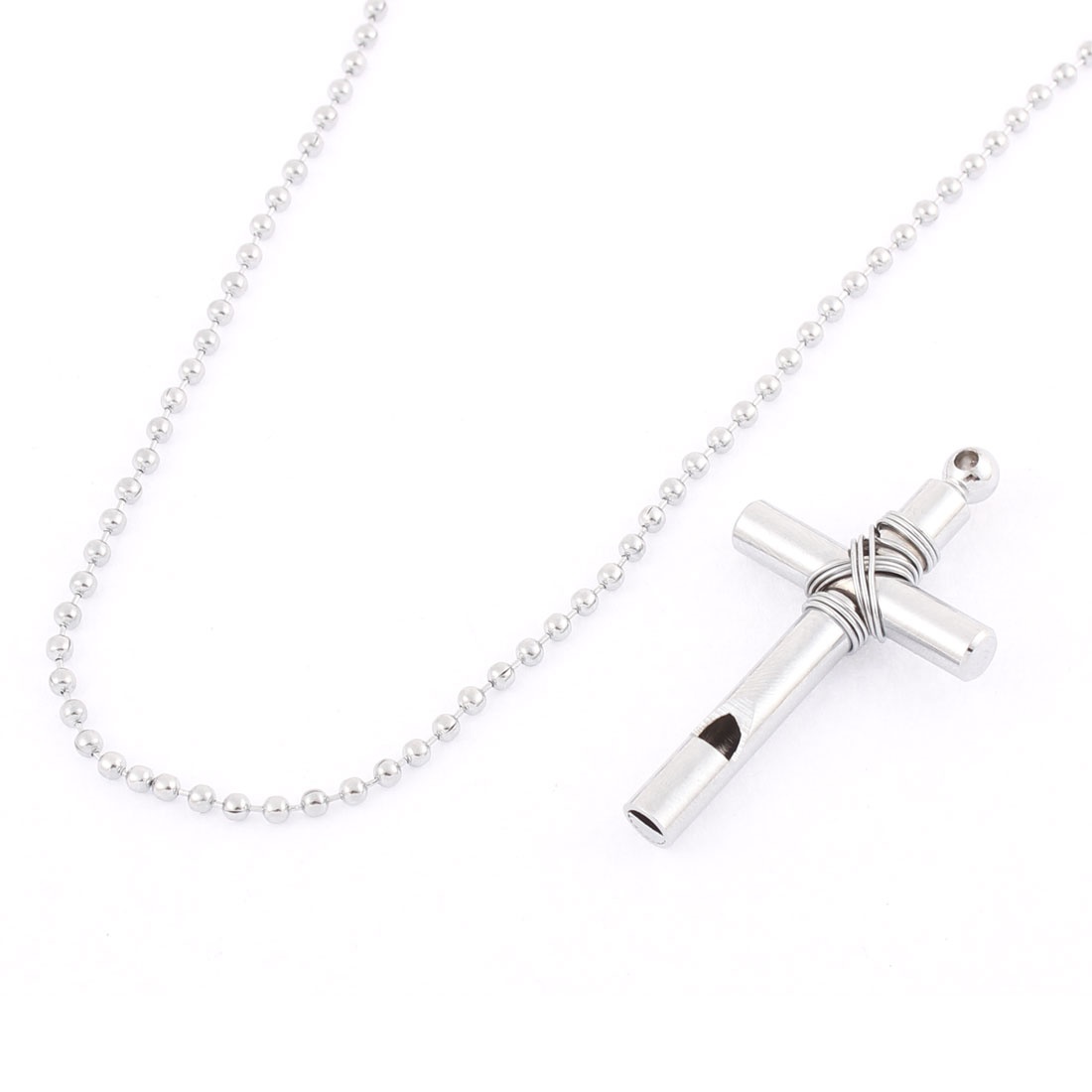 Stainless Steel Cross Whistle Pendant Necklace Silver Tone