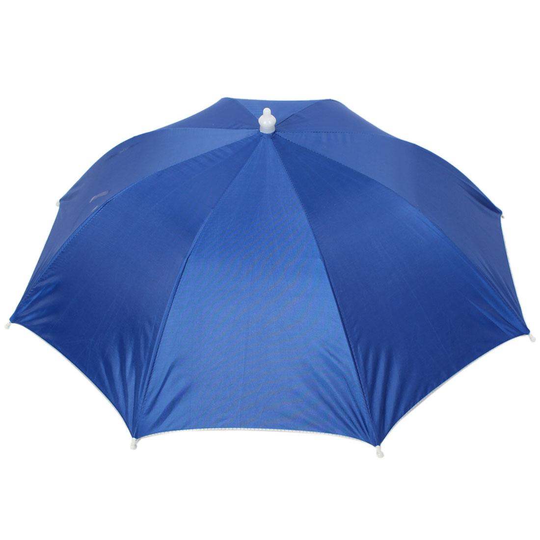 Outdoor Headwear Elastic Headband Foldable Umbrella Hat Dark Blue
