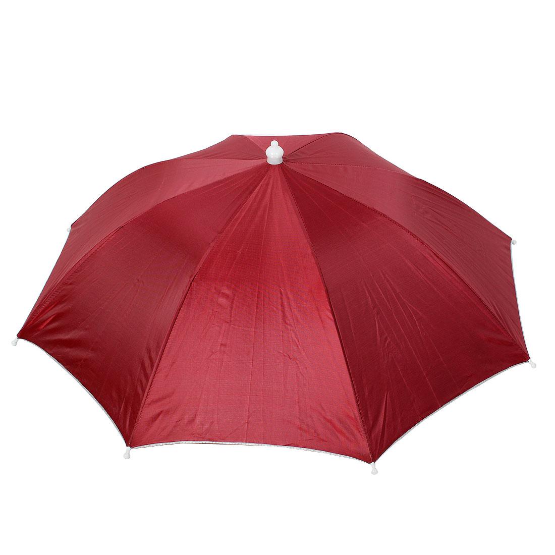 Fishing Travel Headwear Elastic Headband Umbrella Hat Cap Burgundy