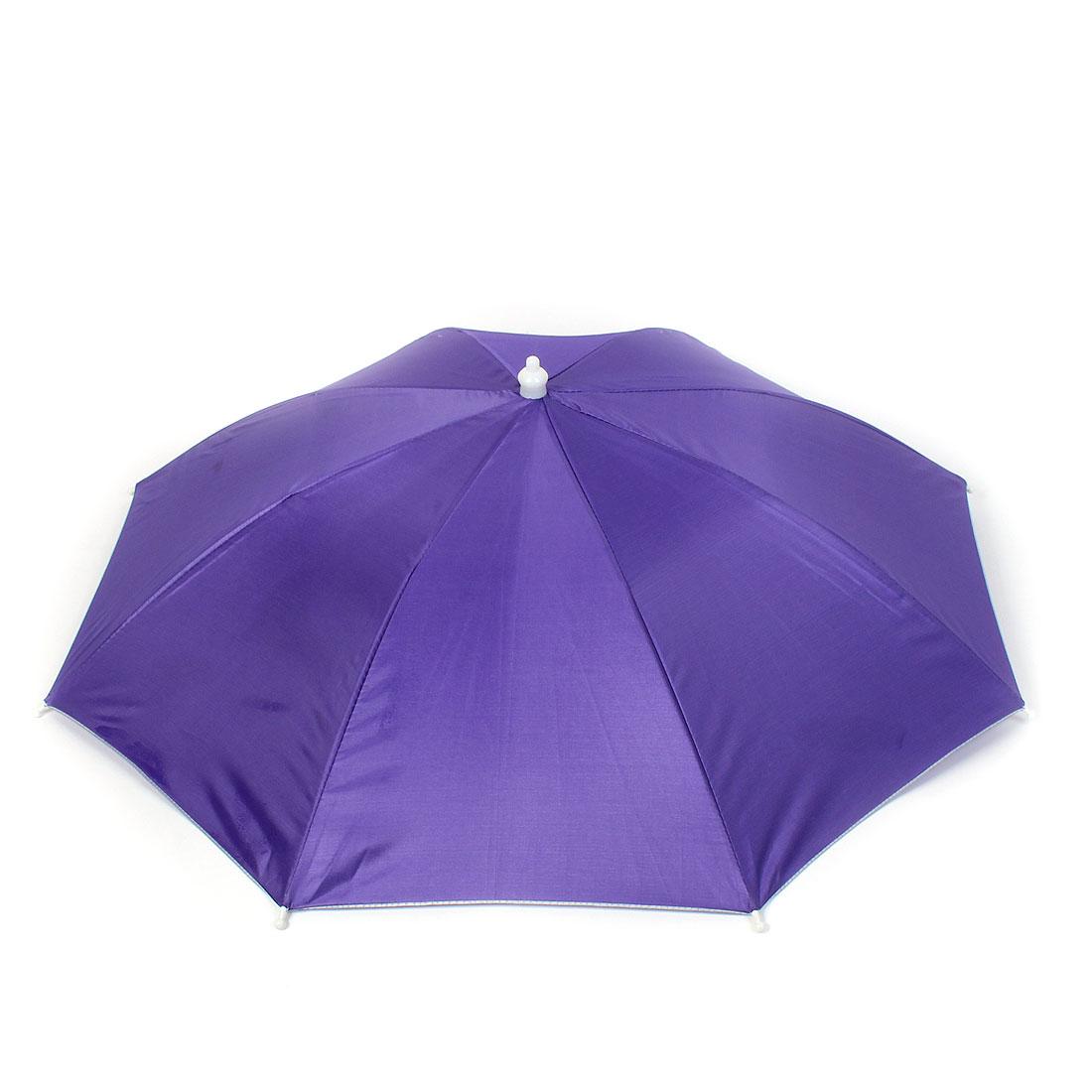 Outdoor Fishing Headwear Elastic Headband Umbrella Hat Purple