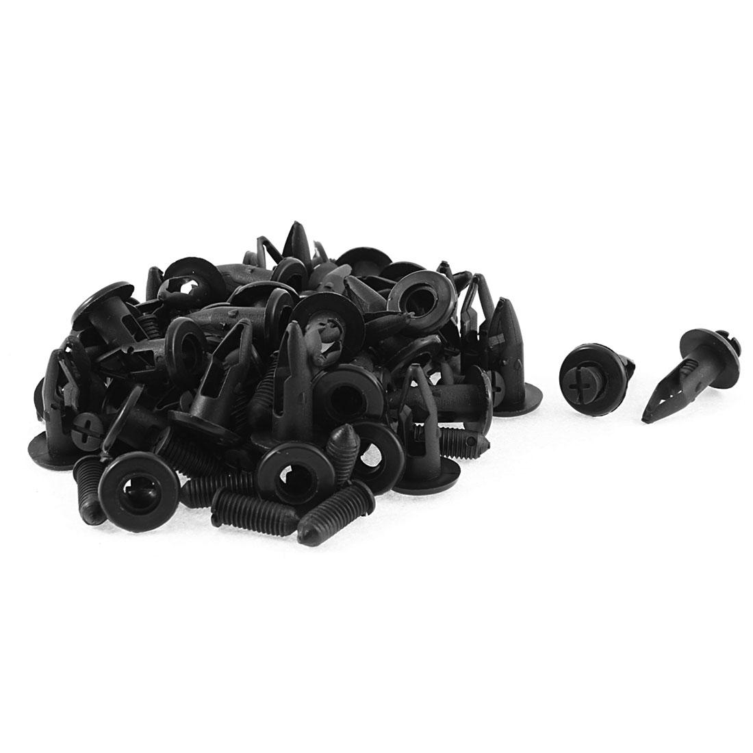 Plastic Rivet Trim Fastener Moulding Clips Black 48Pcs