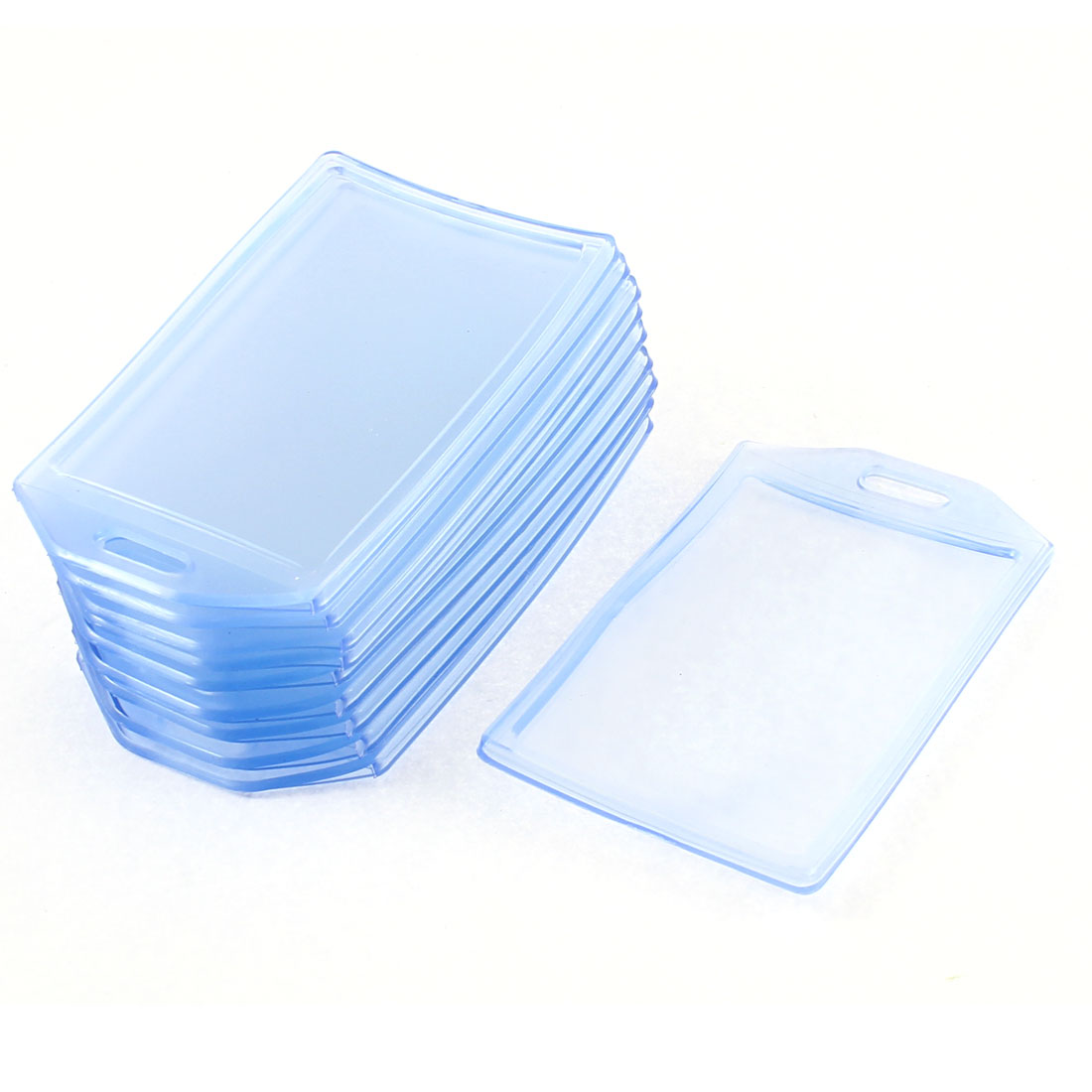Vertical Type Badge ID Card Holder Clear Blue 10Pcs