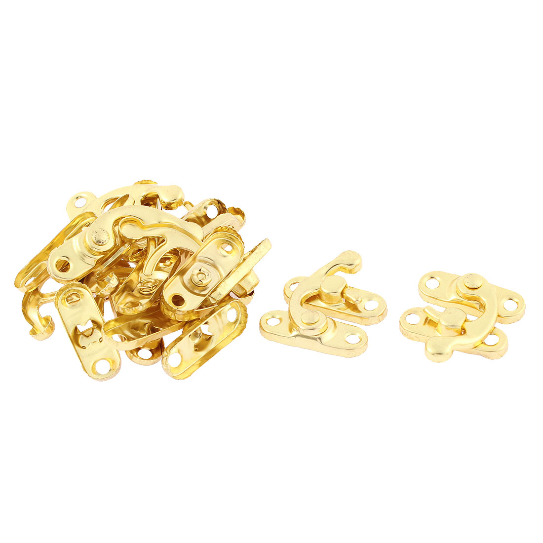 Hook Hinge Lock Clasp Closure Box Latch Gold Tone 10 Sets