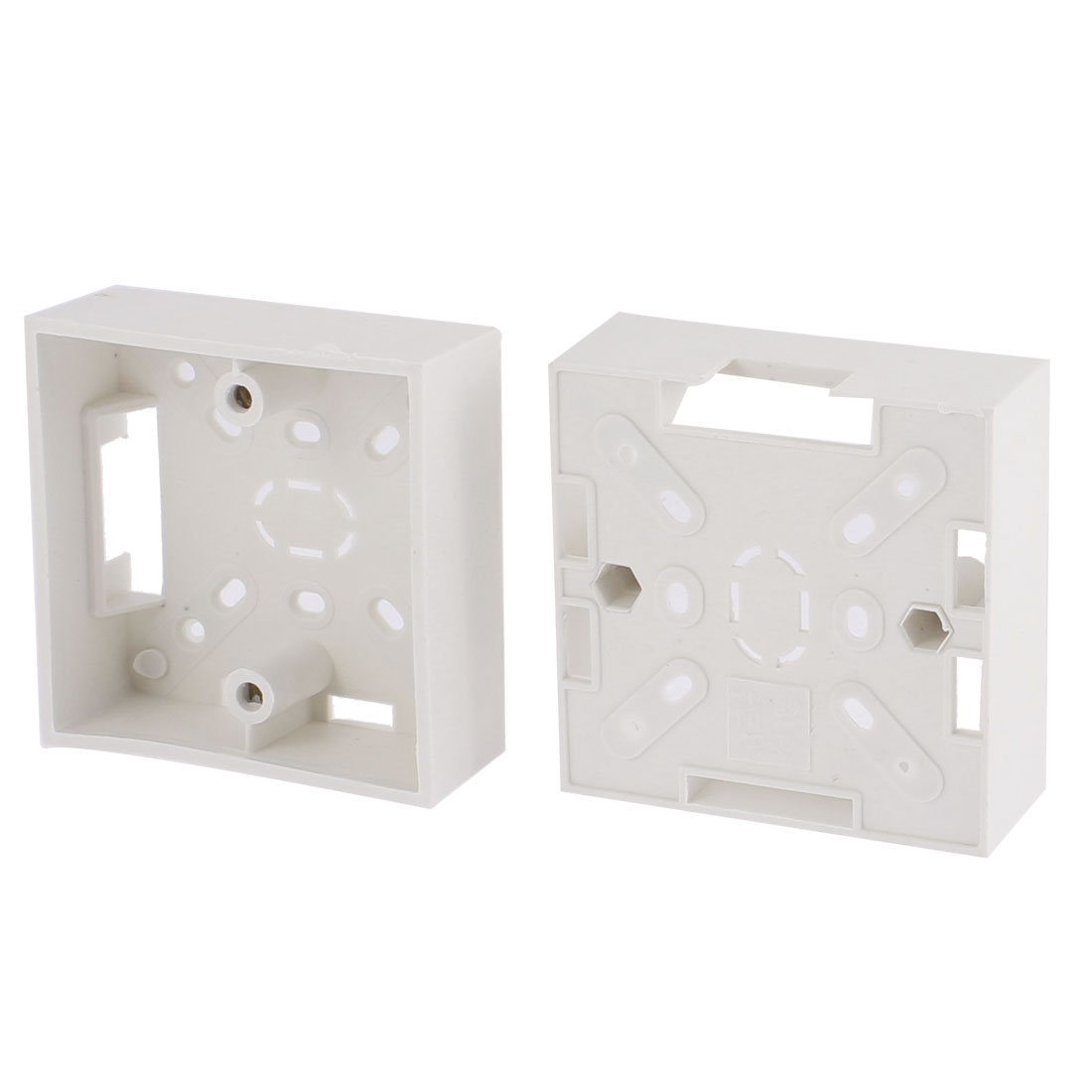 2Pcs 84mm x 84mm x 32mm White Plastic Square Mount Back Box for Wall Socket