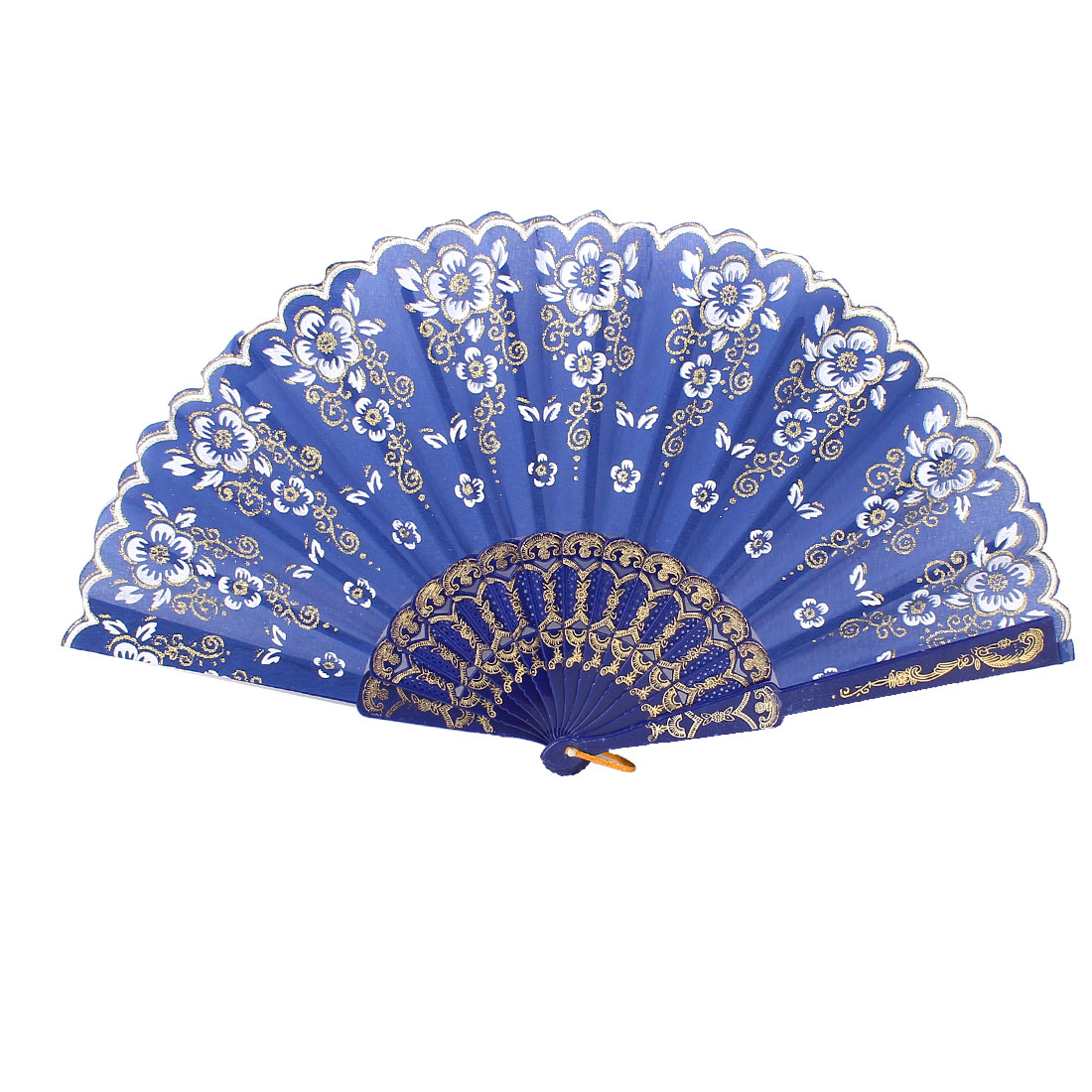Royal Blue Plastic Rib Flower Pattern Powder Decor Wedding Party Folding Fan