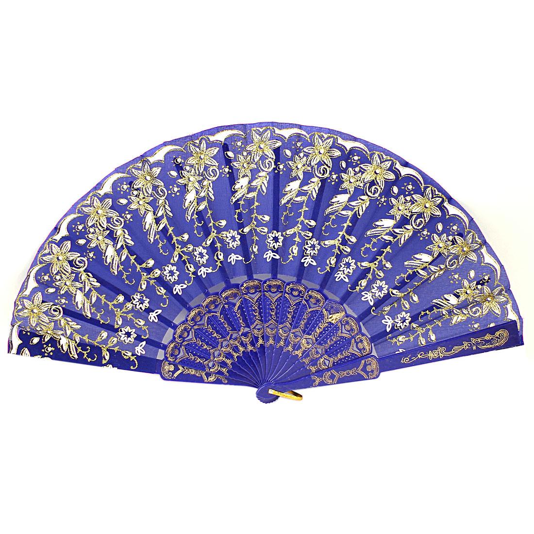 Royal Blue Plastic Rib Floral Pattern Powder Detail Wedding Party Folding Fan