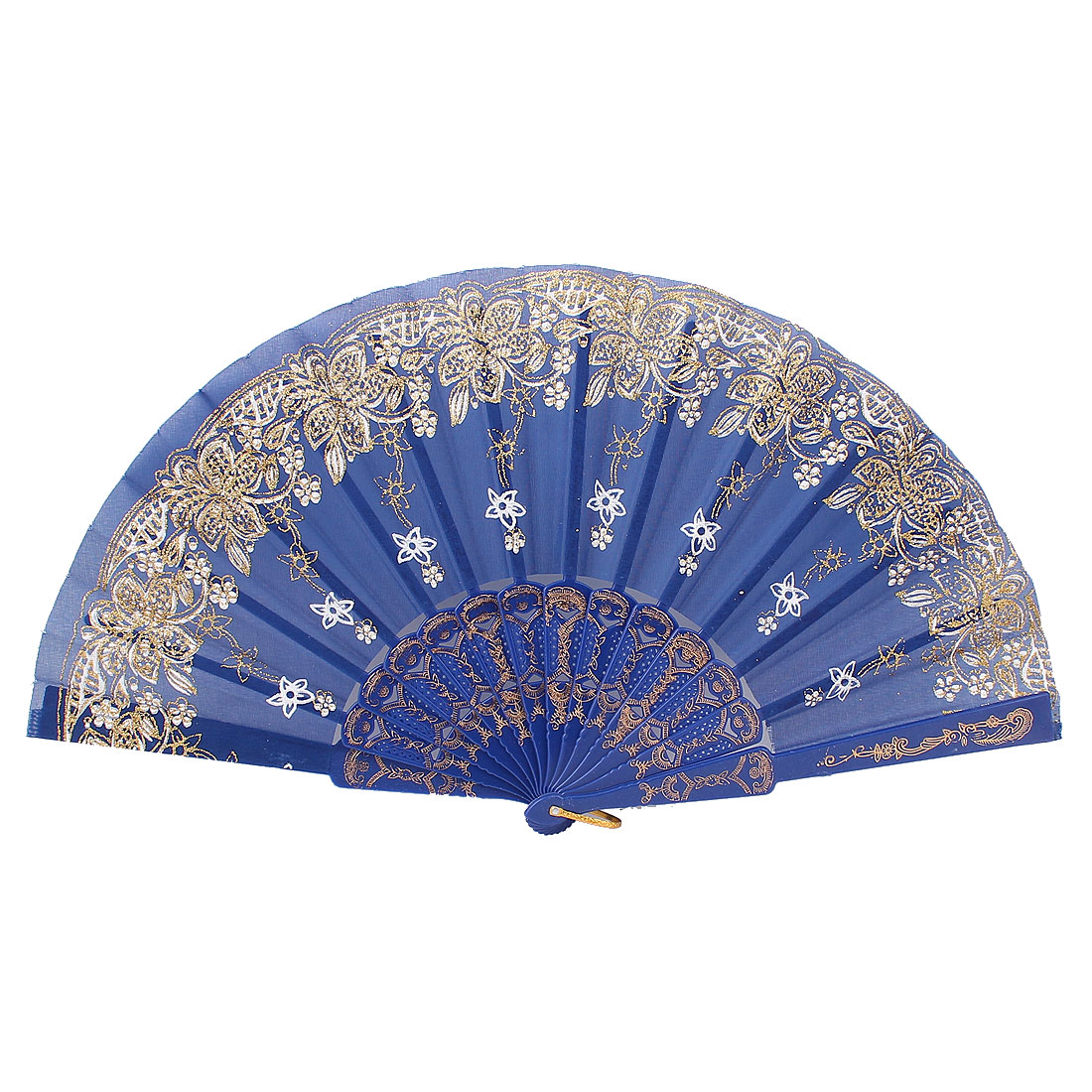 Royal Blue Plastic Hollow Rib Flower Pattern Powder Decor Wedding Folding Fan