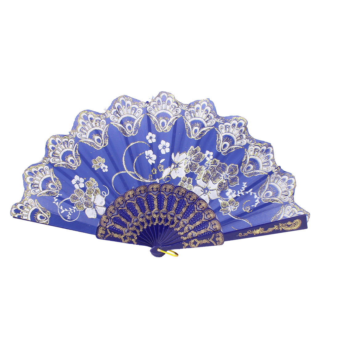 Royal Blue Plastic Hollow Rib Floral Print Powder Decor Wedding Folding Fan
