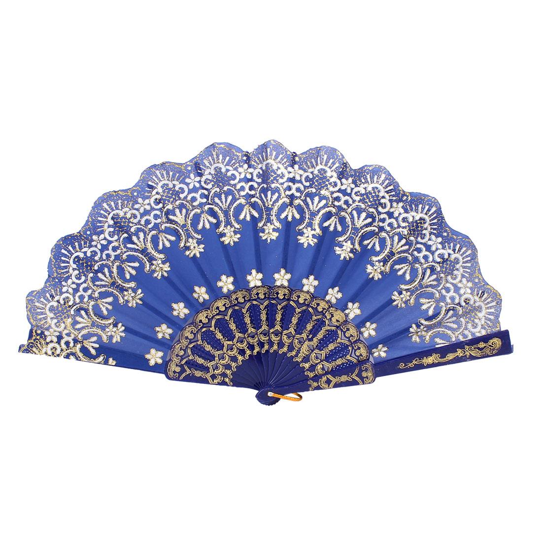 Royal Blue Plastic Rib Crown Pattern Powder Detail Wedding Dance Folding Fan