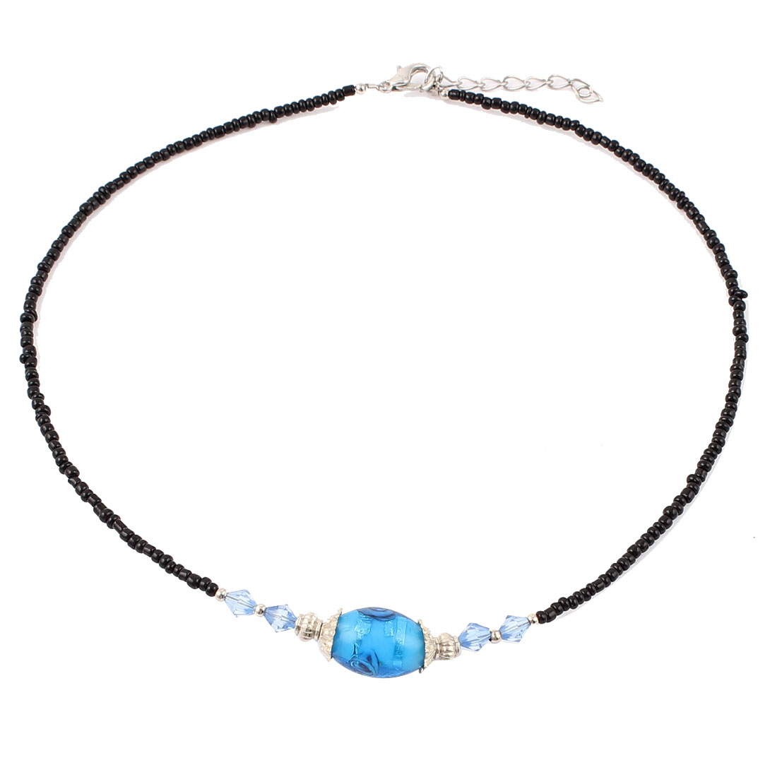Lady Woman Lobster Clasp Link Oval Chamilia Bead Ball Chain Necklace Teal Blue