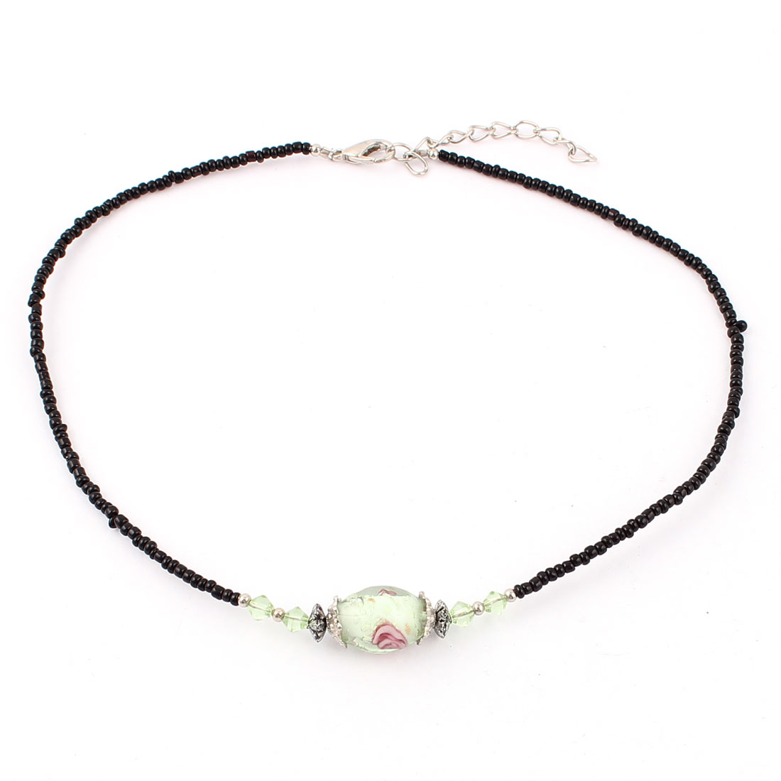 Lady Woman Lobster Clasp Link Oval Chamilia Bead Decor Necklace Clear Green
