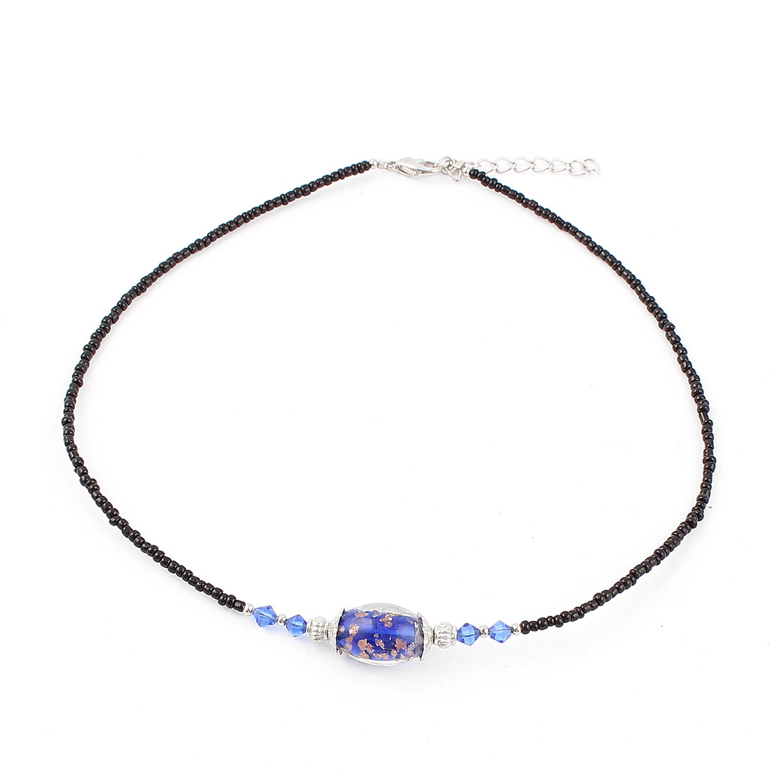 Lady Woman Lobster Clasp Link Oval Chamilia Bead Decor Chain Necklace Dark Blue