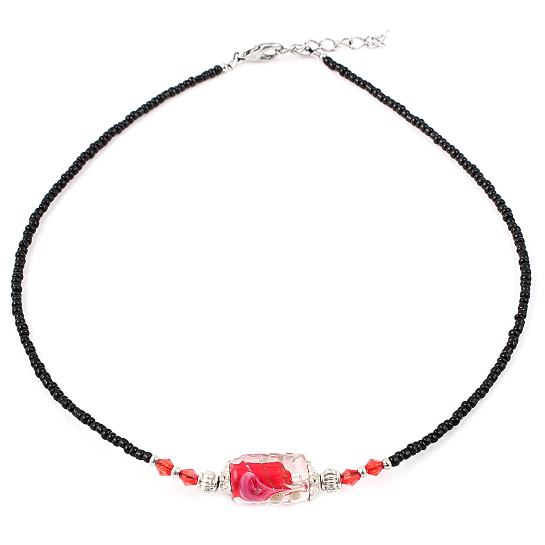 Lady Woman Lobster Clasp Buckle Cylinder Chamilia Bead Ball Chain Necklace Red