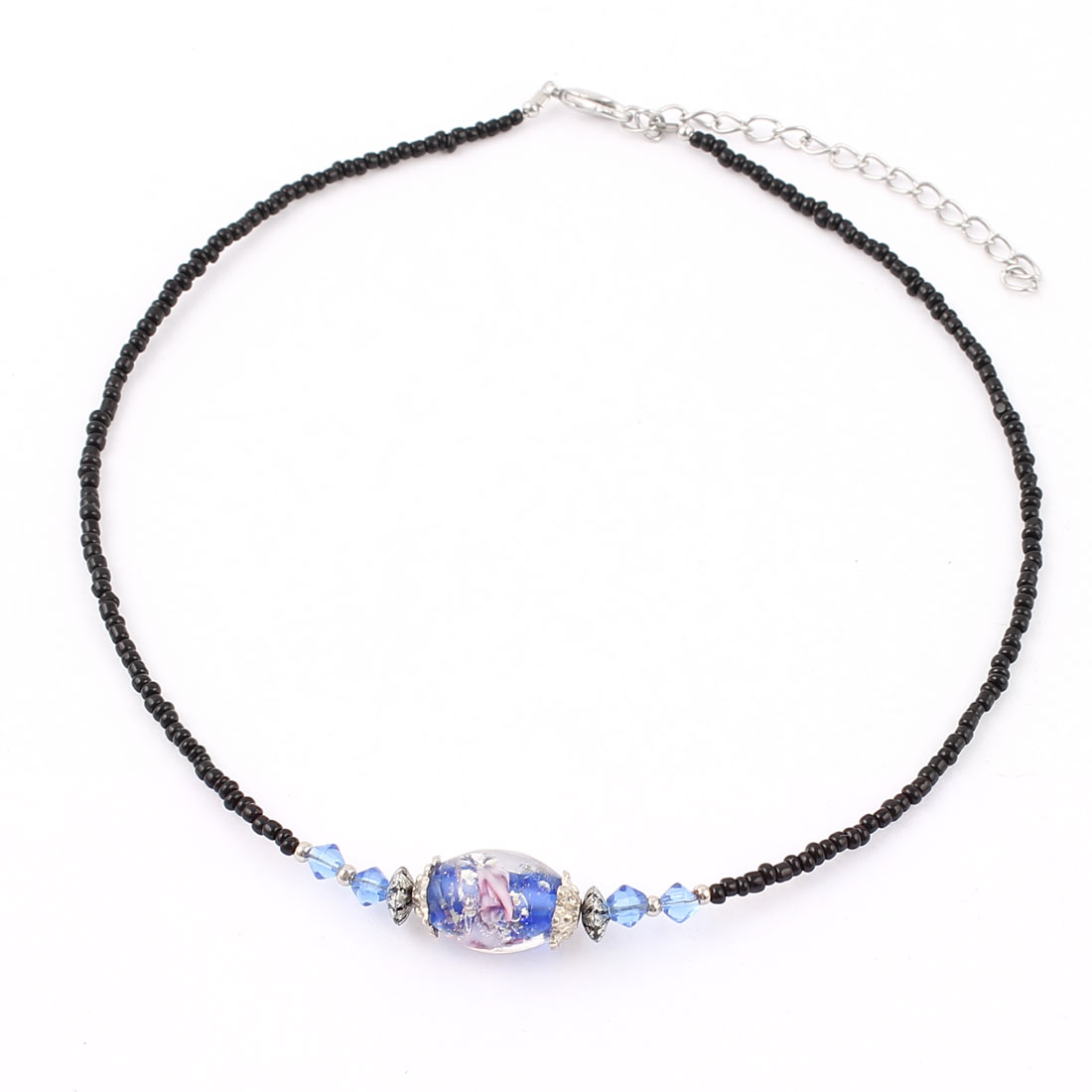 Lady Woman Lobster Clasp Link Oval Chamilia Bead Ball Chain Necklace Dark Blue