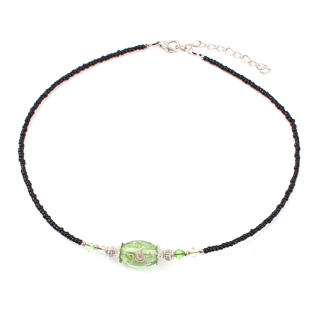 Woman Faux Crystal Detail Oval Chamilia Bead Ball Chain Necklace Clear Green