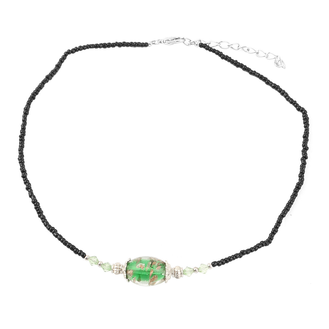 Lady Woman Lobster Clasp Link Oval Chamilia Bead Decor Chain Necklace Green