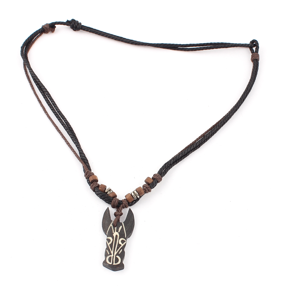 Men Tribal Faux Yak Bone Cow Head Shaped Pendant Adjustable String Necklace