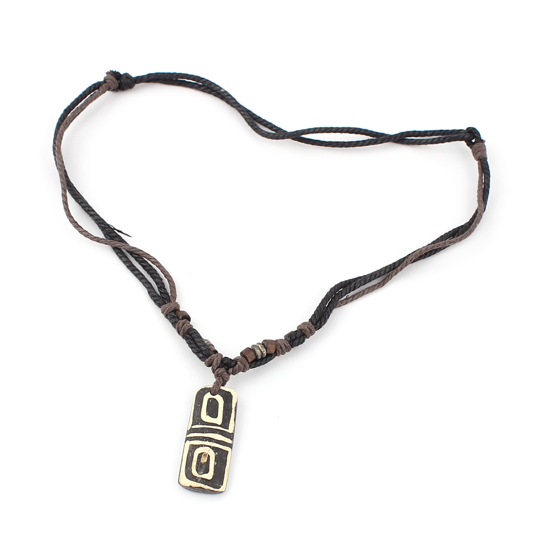 Men Tribal Faux Yak Bone Rectangle Plate Pendant Adjustable Cord Necklace