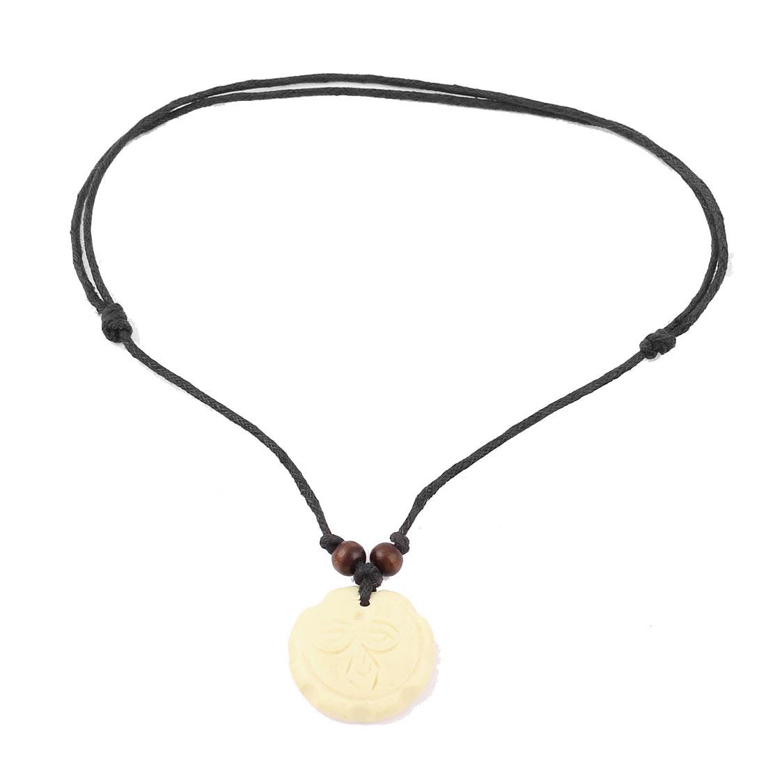 Men Tribal Faux Yak Bone Round Plate Pendant Adjustable String Necklace Beige