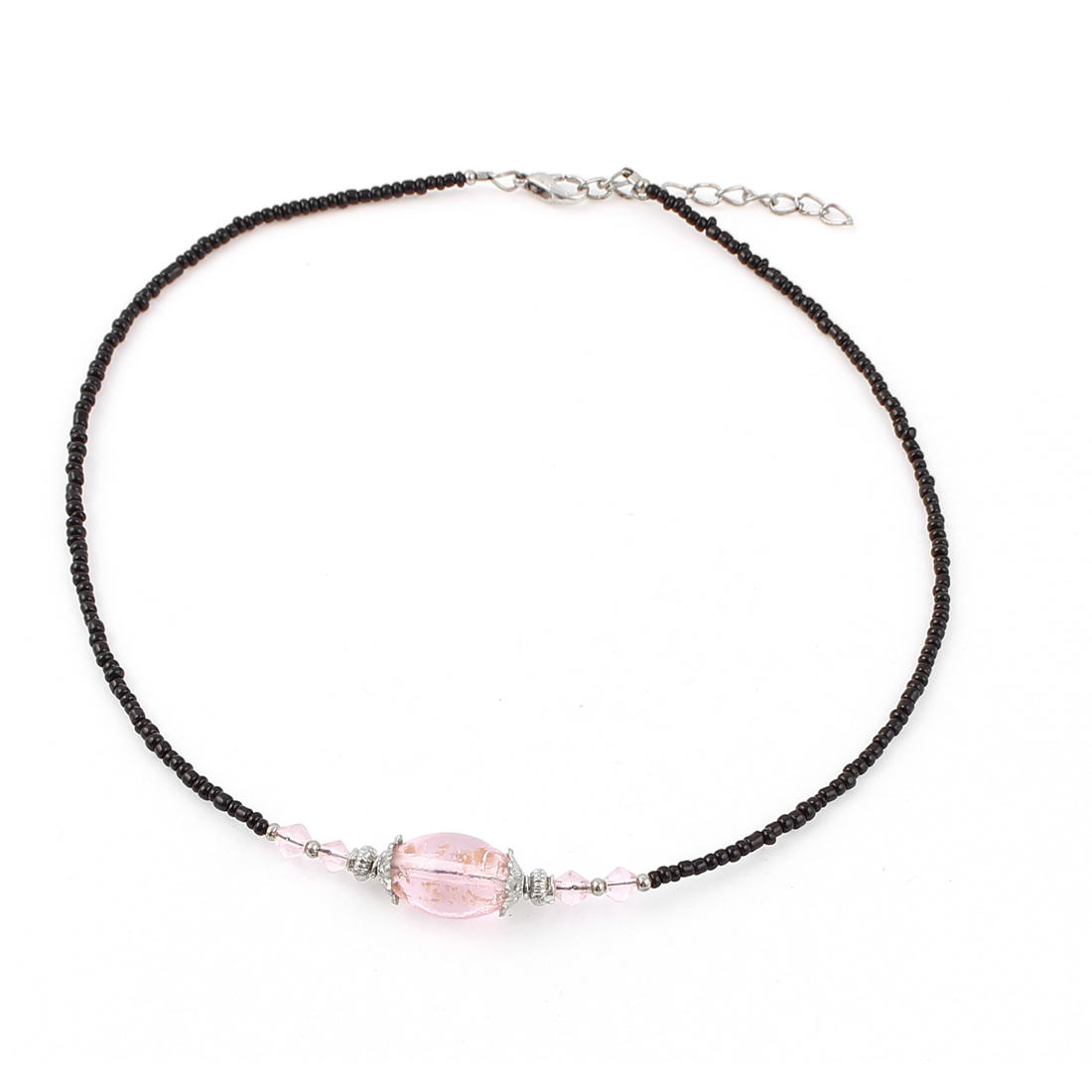 Lady Woman Lobster Clasp Link Oval Chamilia Bead Ball Chain Necklace Clear Pink
