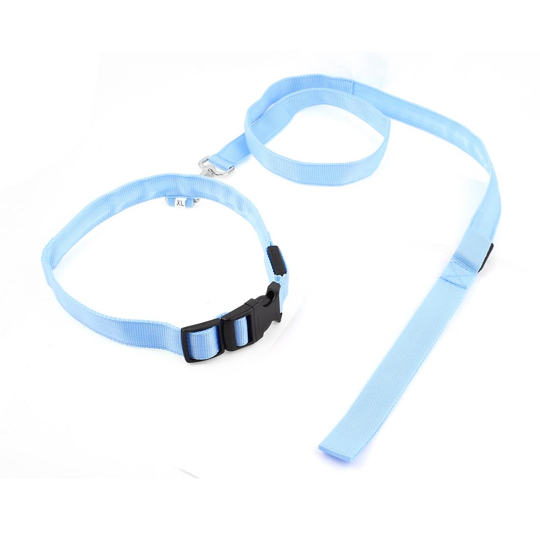 Blue LED Flash Light Release Buckle Pet Dog Adjustable Collar Leash Rope Belt