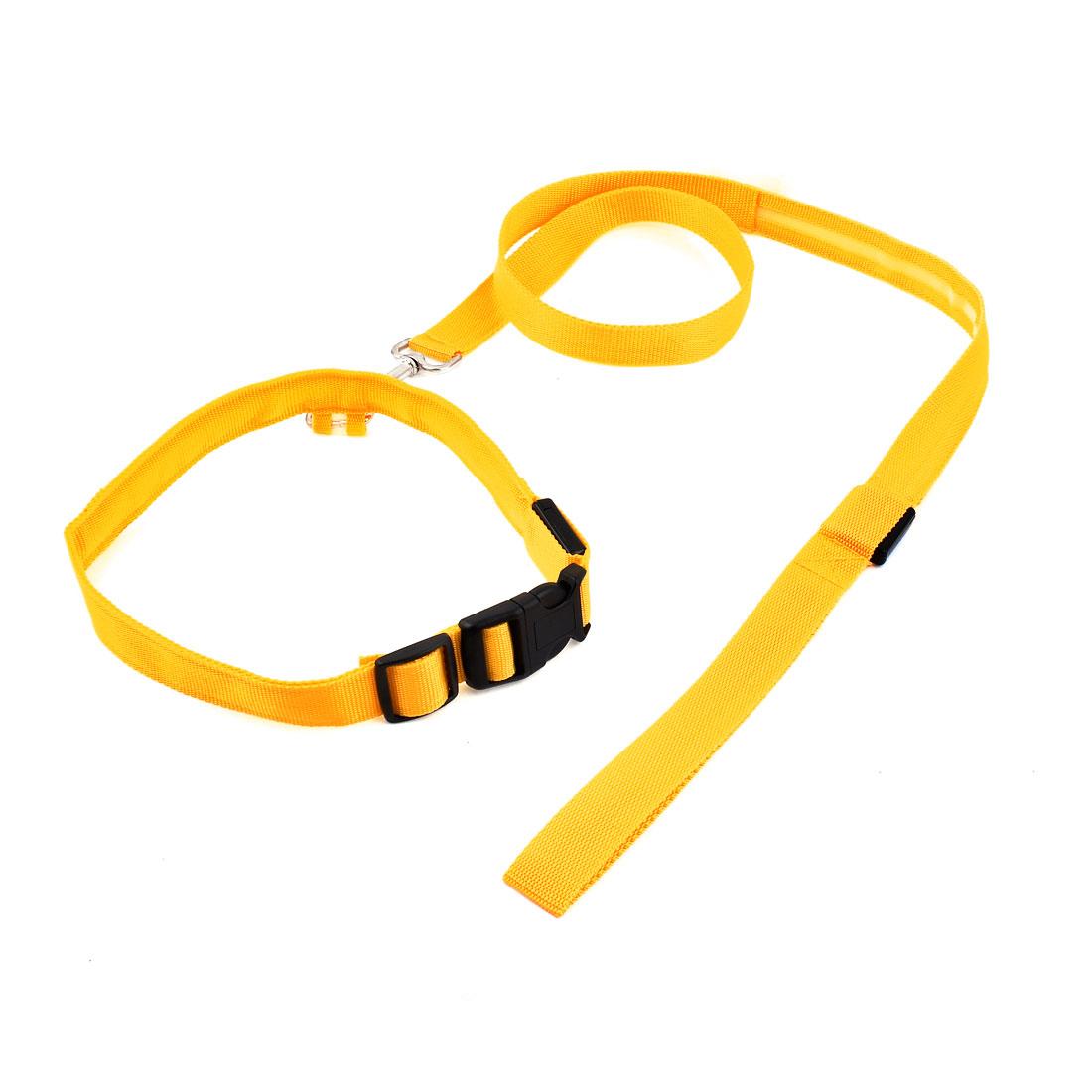 Yellow LED Flashing Light Release Buckle Pet Dog Adjustable Nylon Collar Leash