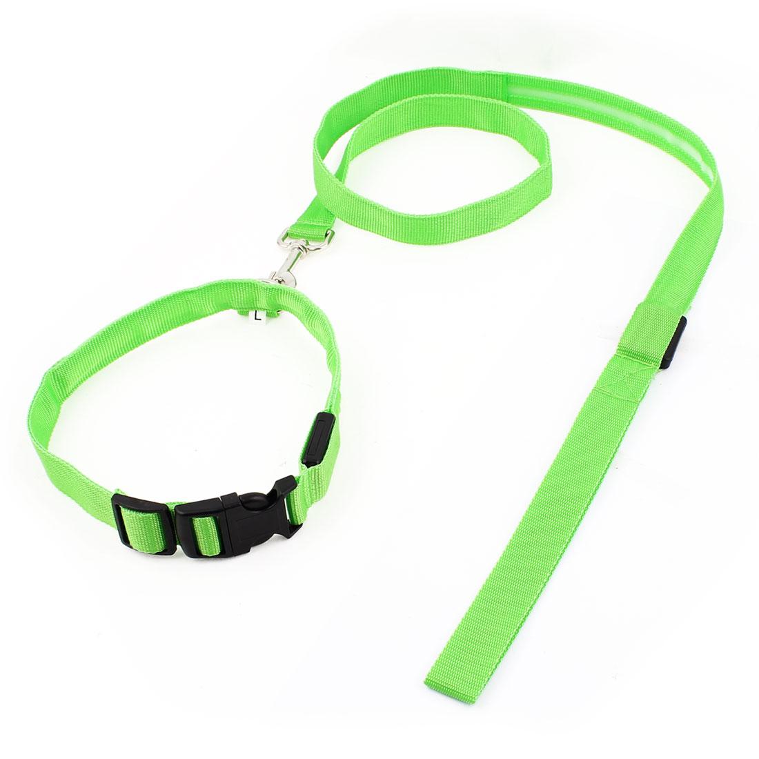 Green LED Flash Light Release Buckle Pet Dog Adjustable Nylon Collar Leash Lead