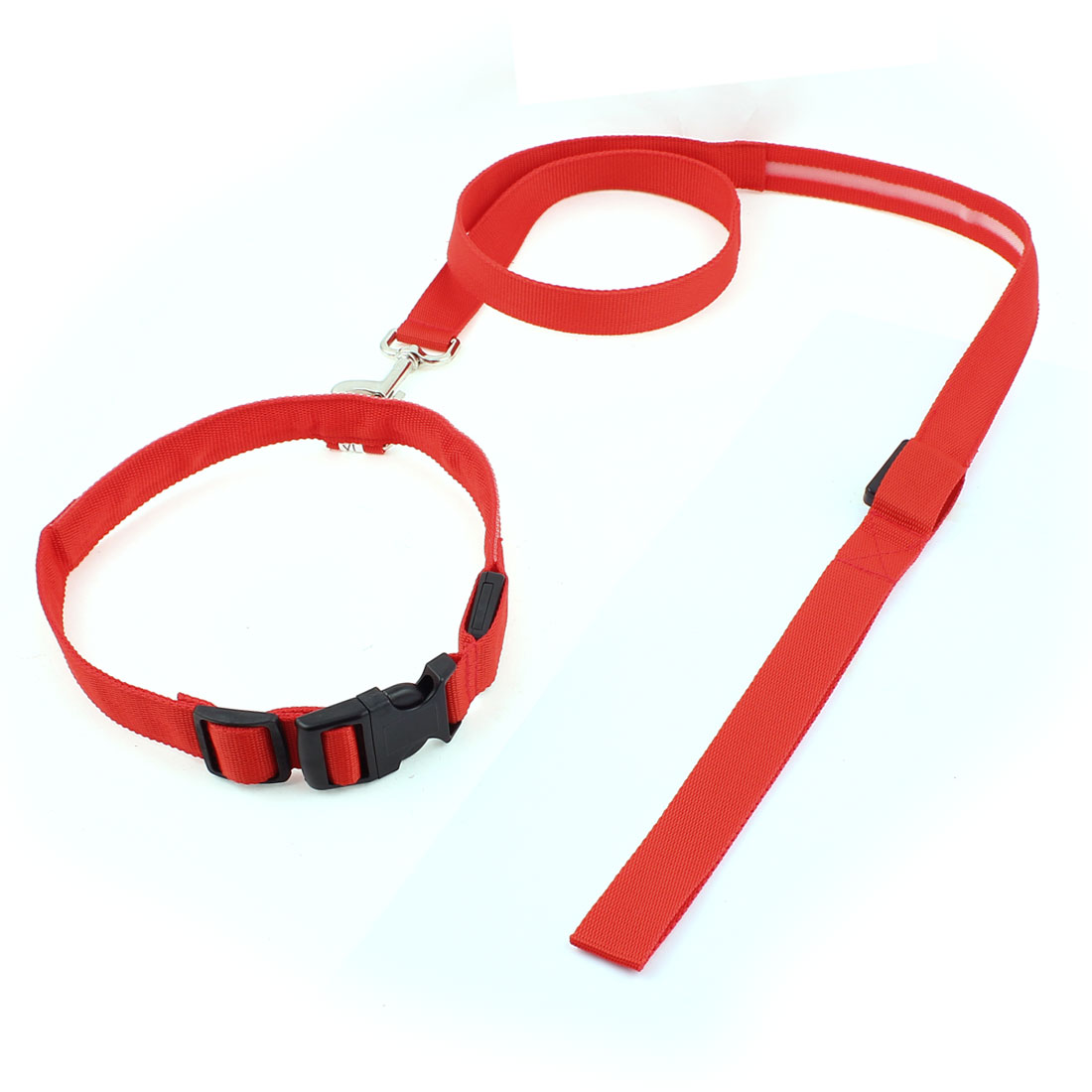 Red LED Flash Light Release Buckle Pet Dog Adjustable Nylon Collar Leash Lead