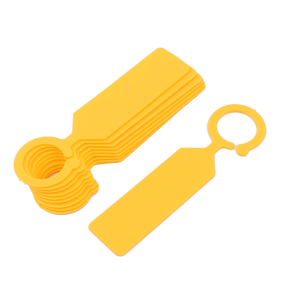 Plastic Hook Nursery Garden Plant Seed Hanging Tag Label Marker Yellow 10Pcs