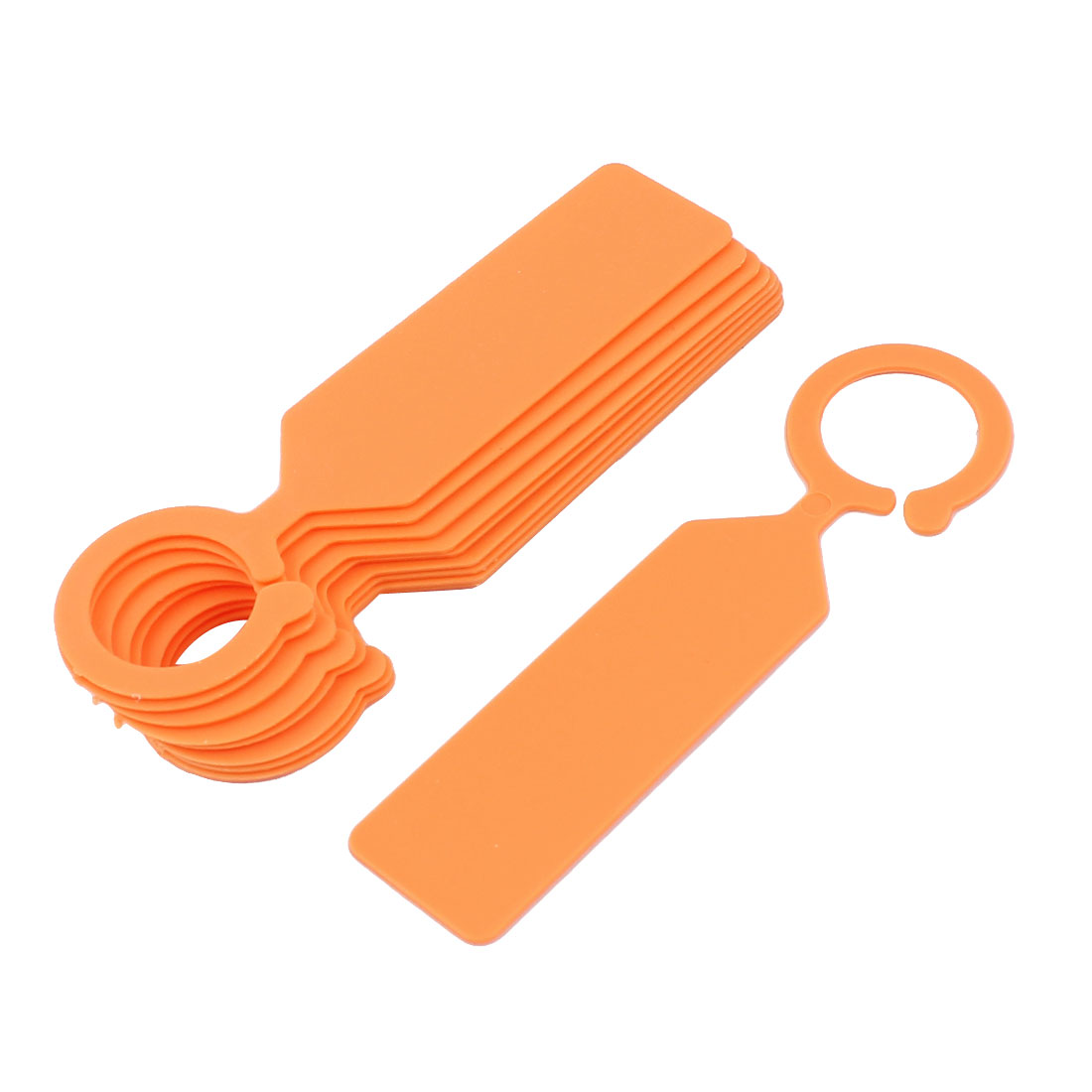Plastic Hook Nursery Garden Plant Seed Hanging Tag Label Marker Orange 10Pcs