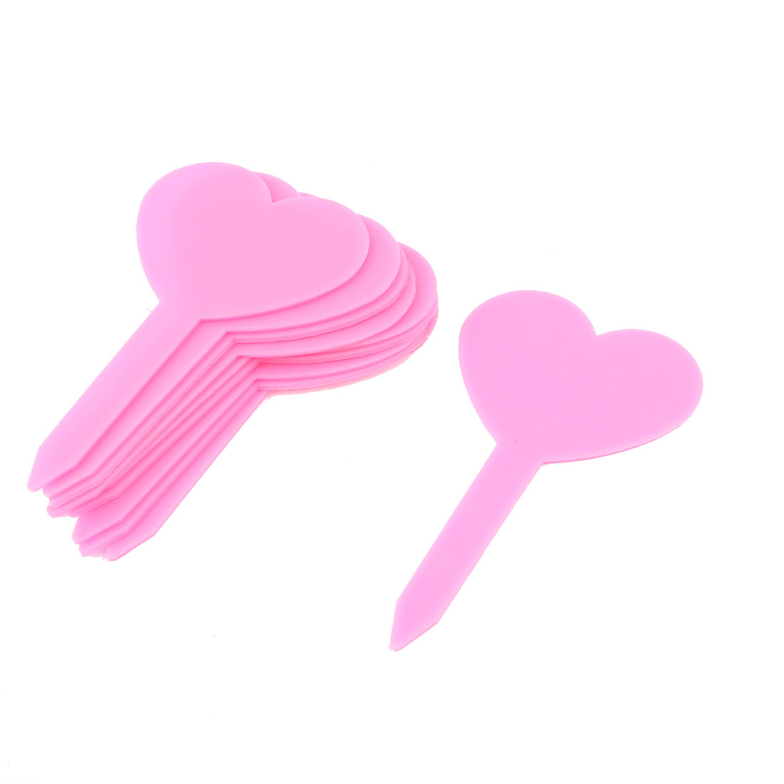 Plastic Heart Shape Nursery Garden Plant Seed Tag Label Marker Stick Pink 10Pcs