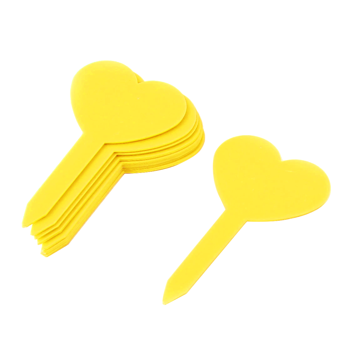 Plastic Heart Shape Nursery Garden Plant Seed Tag Label Marker Stick Yellow 10Pcs
