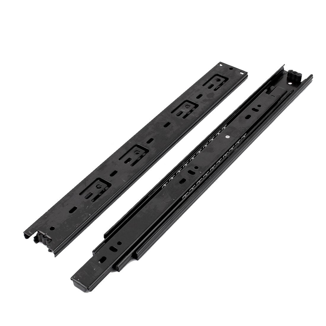 """14"""" Length Ball Bearing Full Extension Damper Drawer Slide Rail Black Pair"""