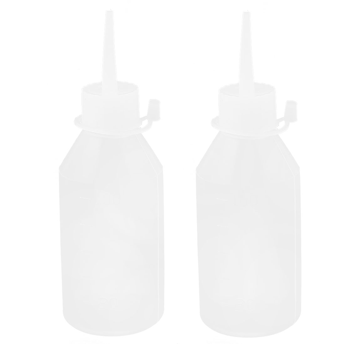 100mL Plastic Chemical Liquid Oil Storage Squeeze Bottle Dispenser White 2Pcs