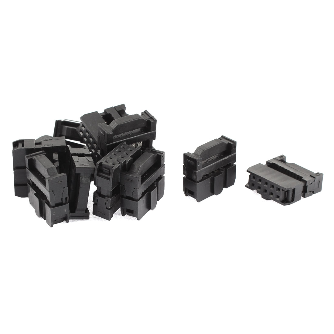 FC-10P 2.54mm Pitch Dual Row IDC Female Socket Header Connector Black 12Pcs