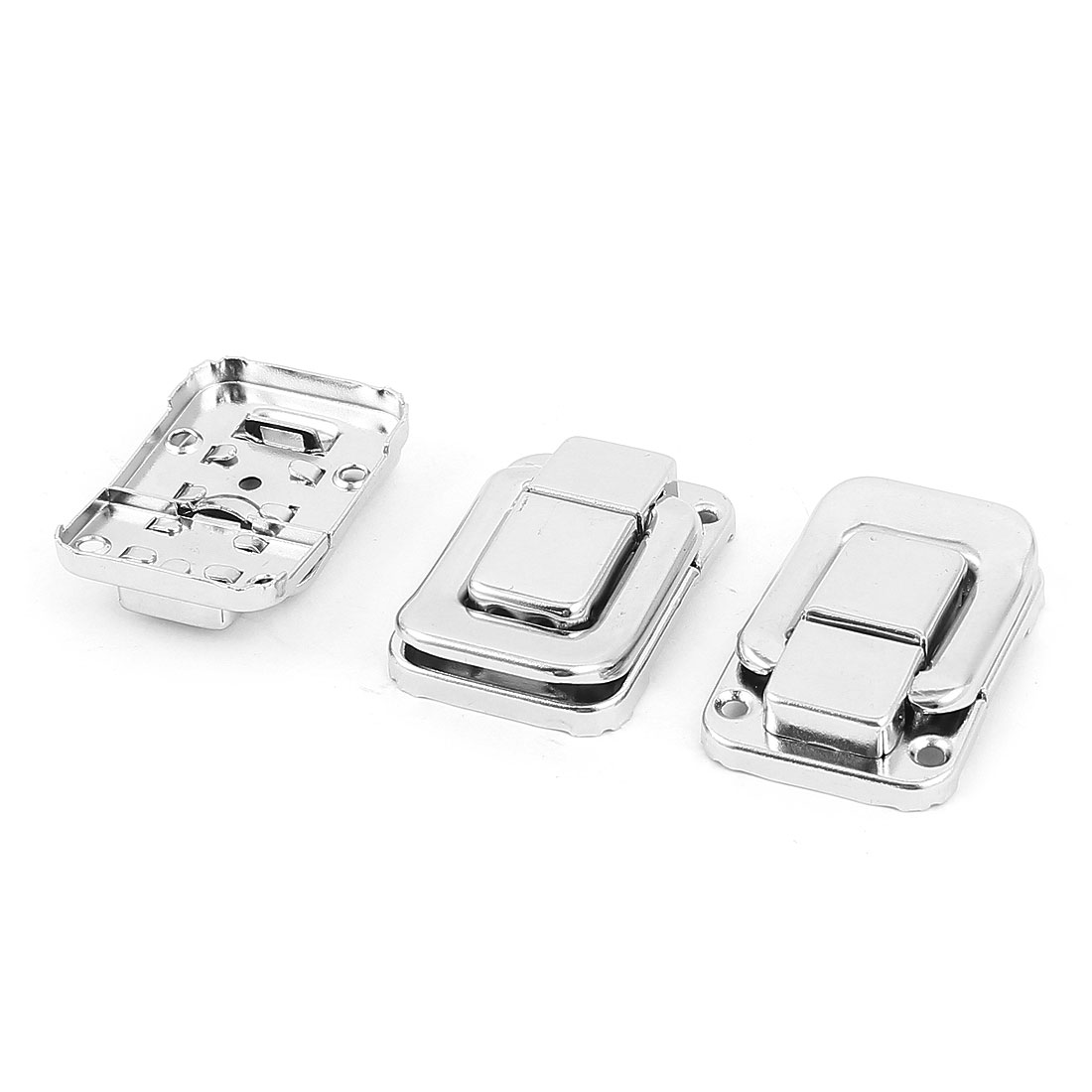 49mm x 33mm Luggage Suitcase Chest Metal Toggle Catch Latch Silver Tone 3Pcs