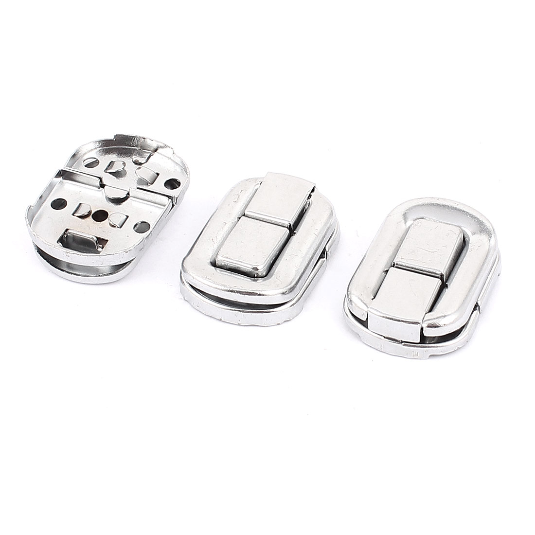 37.5mm x 27mm Luggage Suitcase Chest Metal Toggle Catch Latch Silver Tone 3Pcs