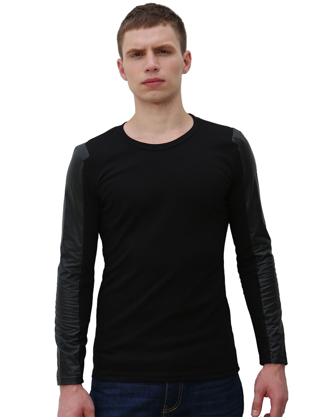 Men PU Leather Panel Long Sleeves Round Neck Ribbed Casual Tee Black XS