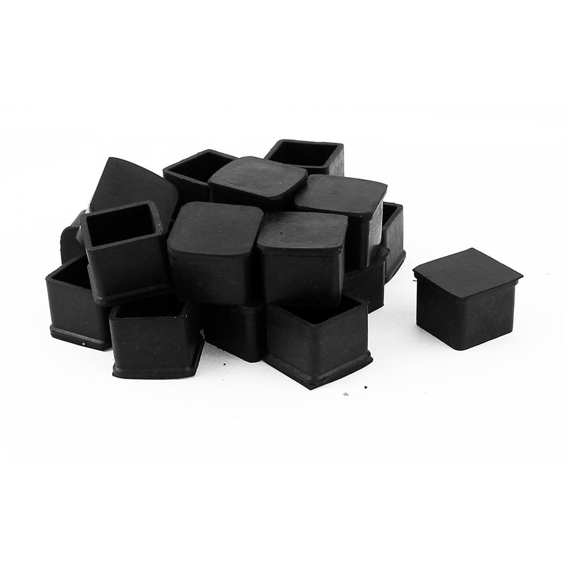 20 Pcs Black Square Chair Table Leg Foot Rubber Covers Protectors 24mm x 24mm