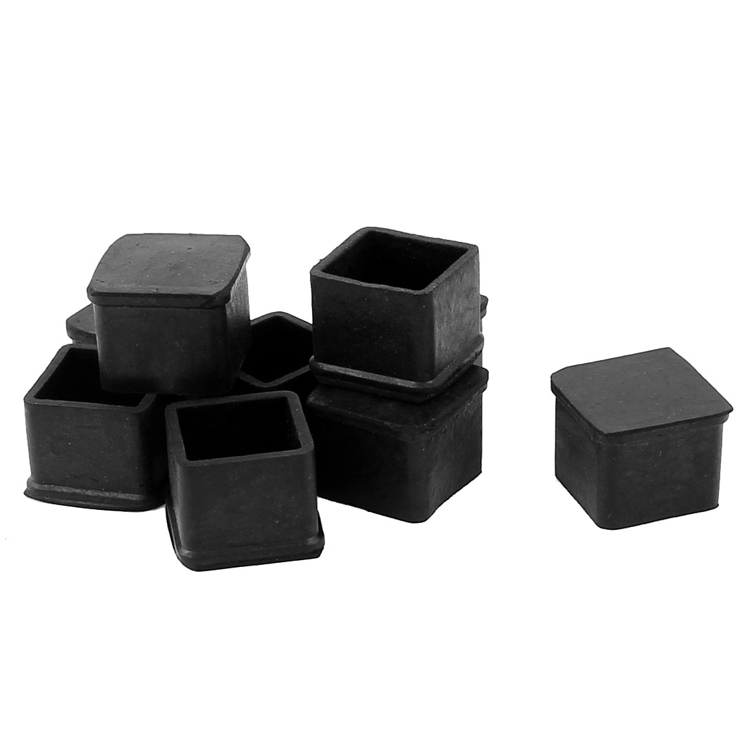 9 Pcs Black Square Chair Table Leg Foot Rubber Covers Protectors 24mm x 24mm