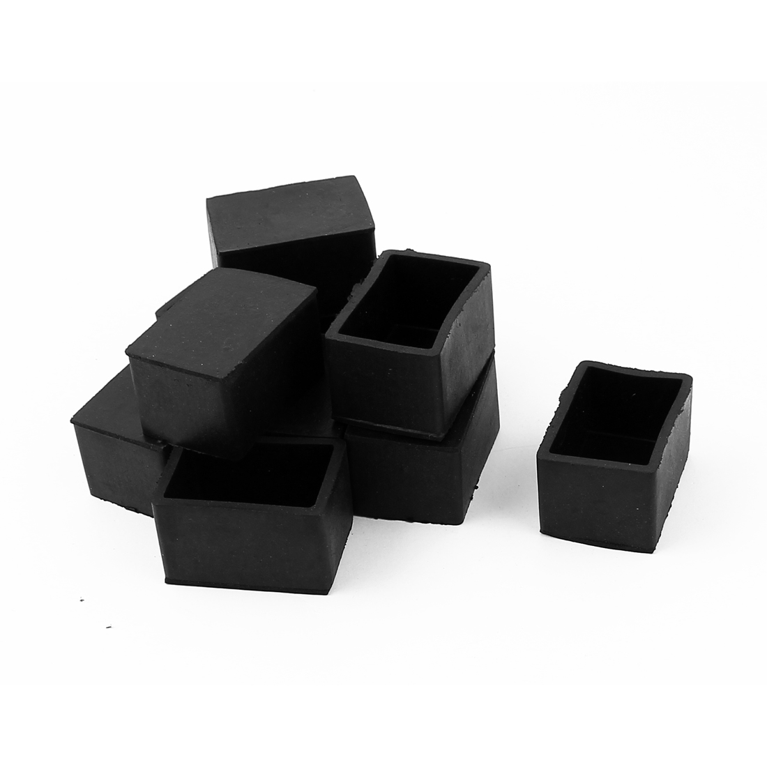 10 Pcs Black Rectangle Chair Table Leg Foot Rubber Covers Protectors 38mm x 24mm