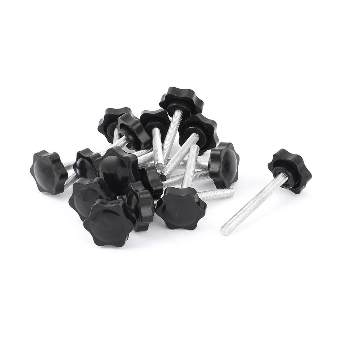 15 Pcs 8mm x 70mm Male Thread Screw Star Shaped Head Clamping Knob