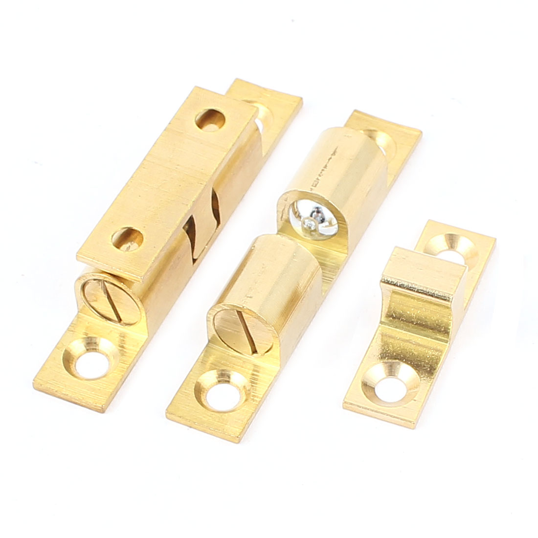 2 Pcs Brass Cabinet Door Double Ball Catch Hardware 60mm Long