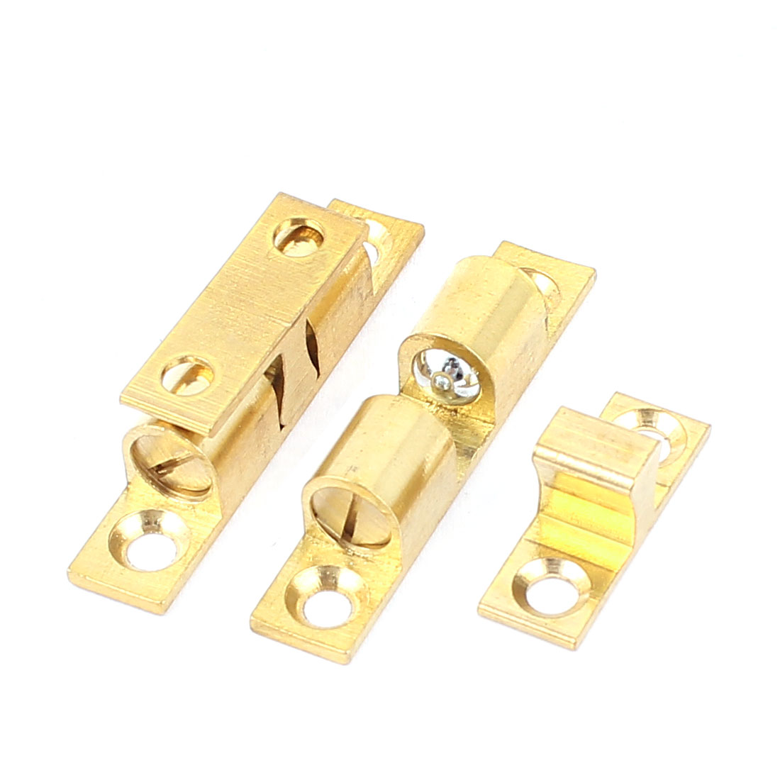2 Pcs Brass Cabinet Door Double Ball Catch Hardware 42mm Long