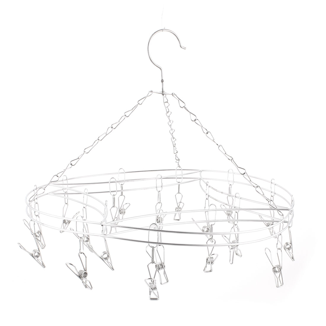 Round Stainless Steel Frame Clothes Horse Socks Hanger 20 Clips Silver Tone