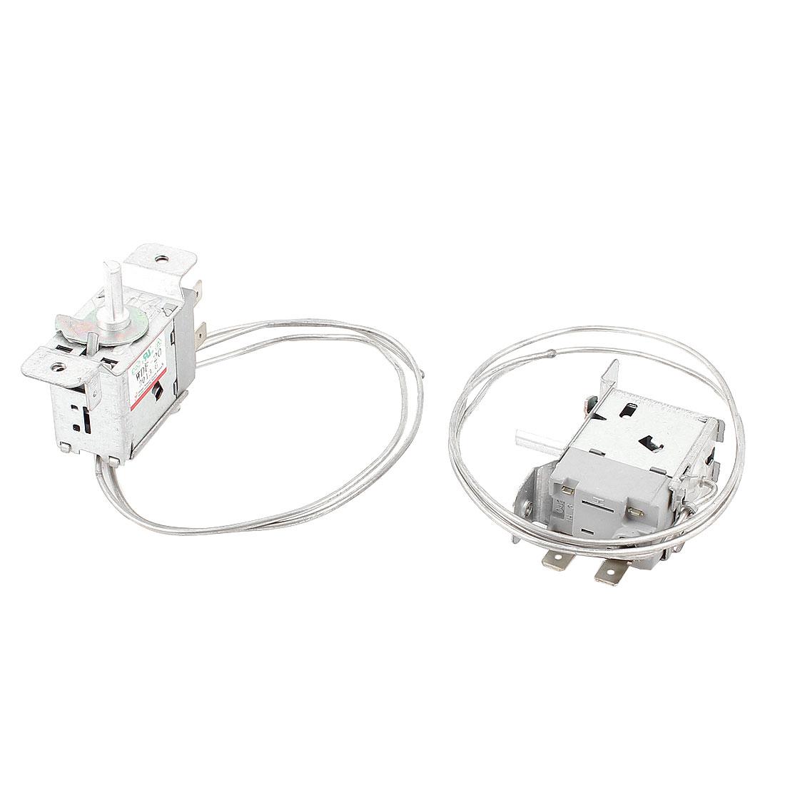 2 Pcs 70cm Length Metal Cord Temperature Control Fridge Attemperator AC 250V 5A